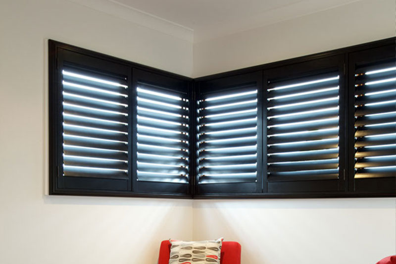 timber plantation shutters stained